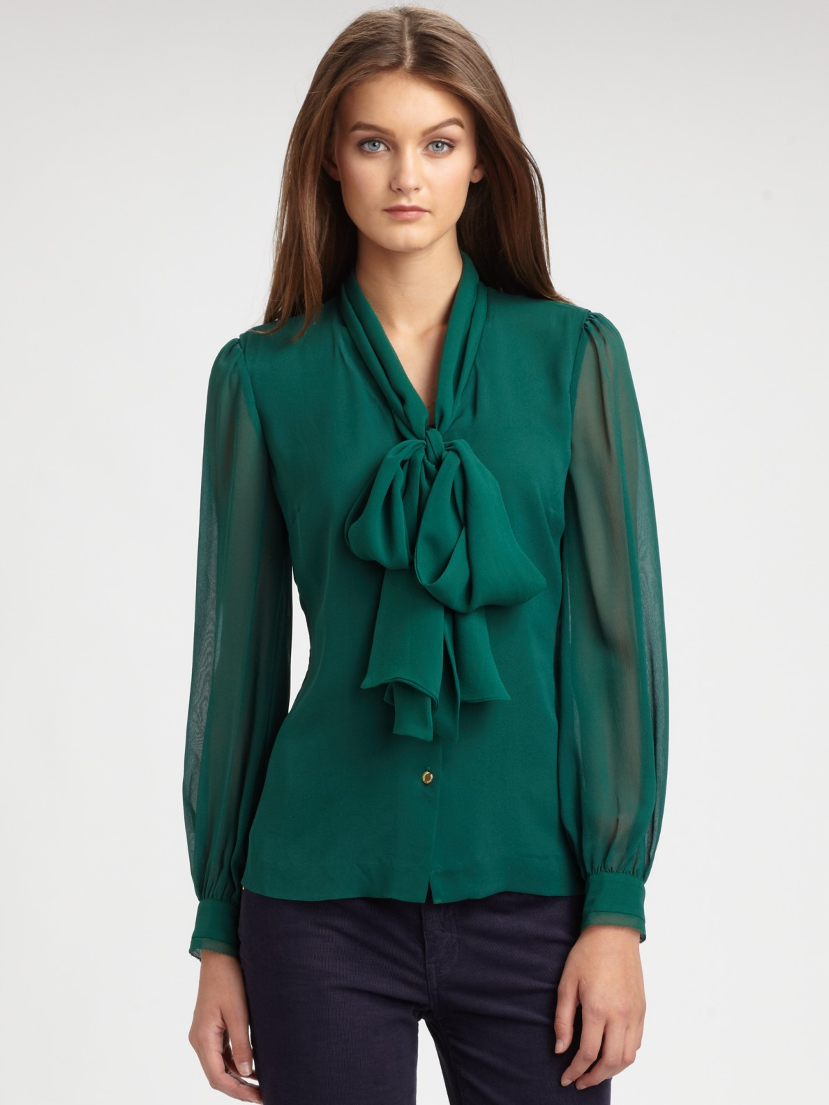 Tory burch Silk Bryce Blouse in Green | Lyst