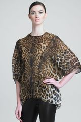 Saint Laurent Leopard print Silk Tunic - Lyst