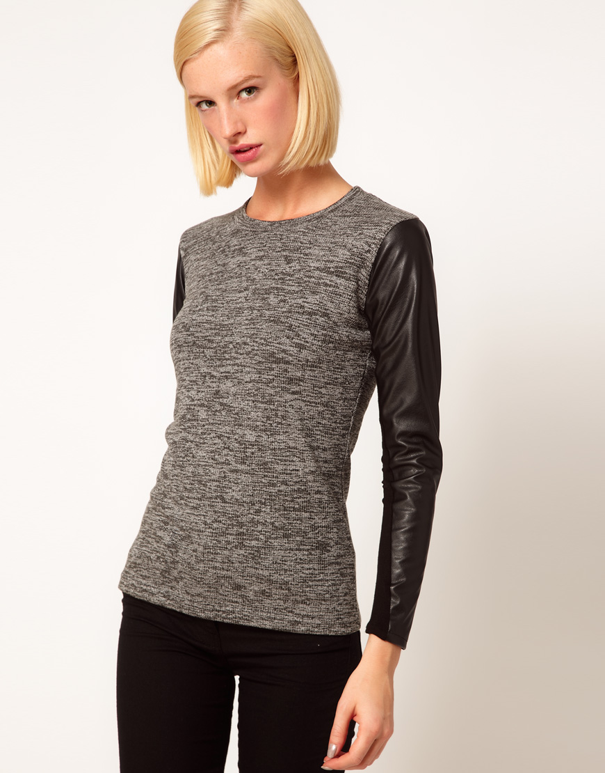 Lyst Asos Collection Top In Knit With Leather Look Sleeves In Gray