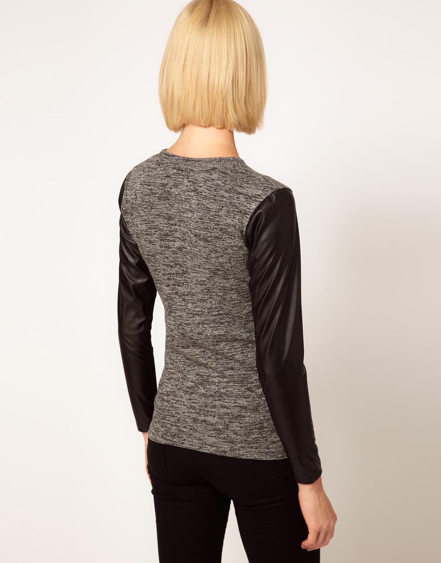 Asos Collection Asos Peplum Top In Sequin In Natural: ASOS Collection Asos Top In Knit With Leather Look Sleeves