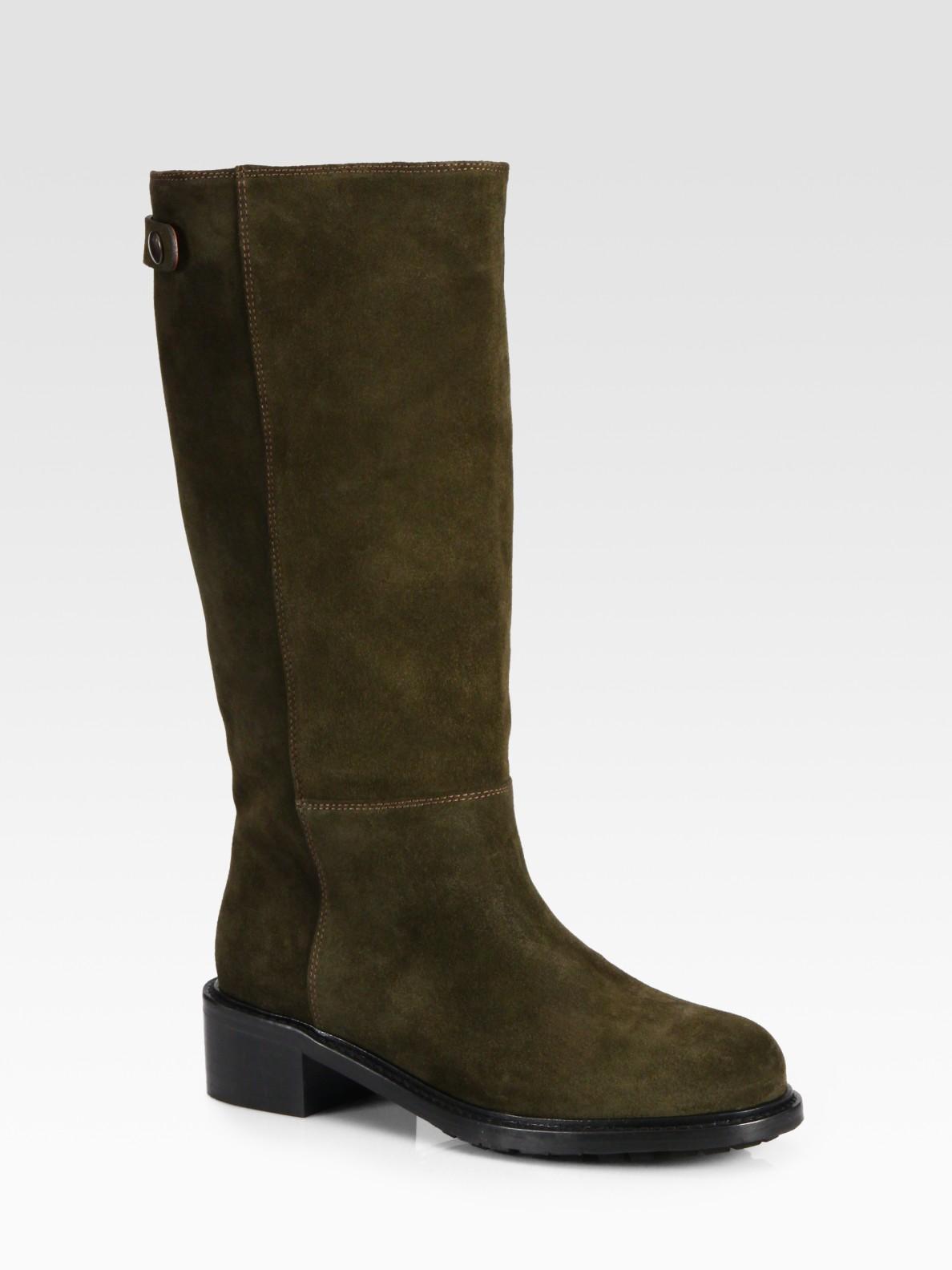 vince jocelyn suede flat boots in green lyst