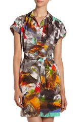 Donna Morgan Printed Belted Shirtdress - Lyst