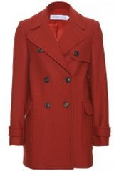 See By Chloé Doublebreasted Herringbone Wool Jacket in Red (rust) - Lyst