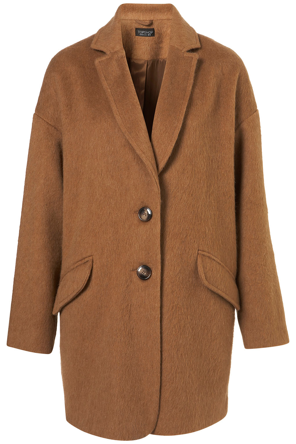 Topshop Mohair Boyfriend Coat in Brown | Lyst