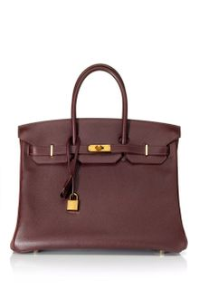 Vintage Hermès From Heritage Auctions Vintage 35cm Havana Evergrain Leather Birkin - Lyst