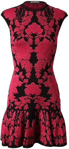 Alexander Mcqueen Floral Jacquard Stretch Knit Dress In