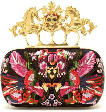 Alexander McQueen Embroidered Satin Box Clutch - Lyst