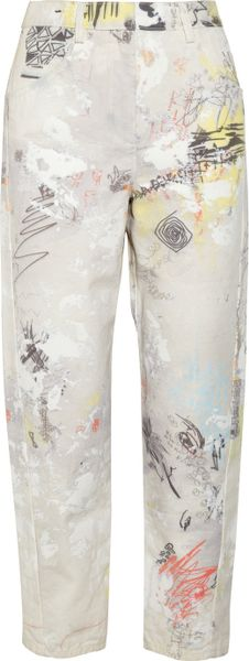 Alexander Wang Printed Midr-Rise Straight-Leg Jeans in Beige (cream)