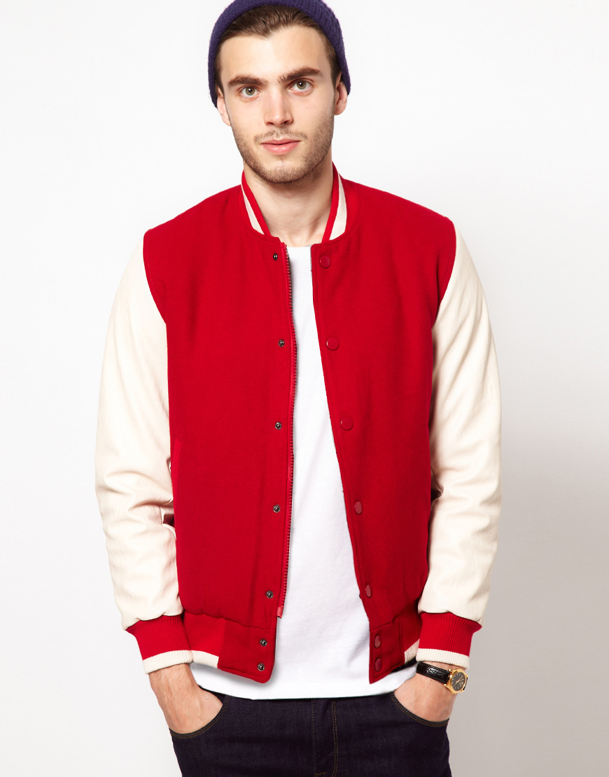 Asos Wool Baseball Jacket with Leather Look Sleeves in White for ...