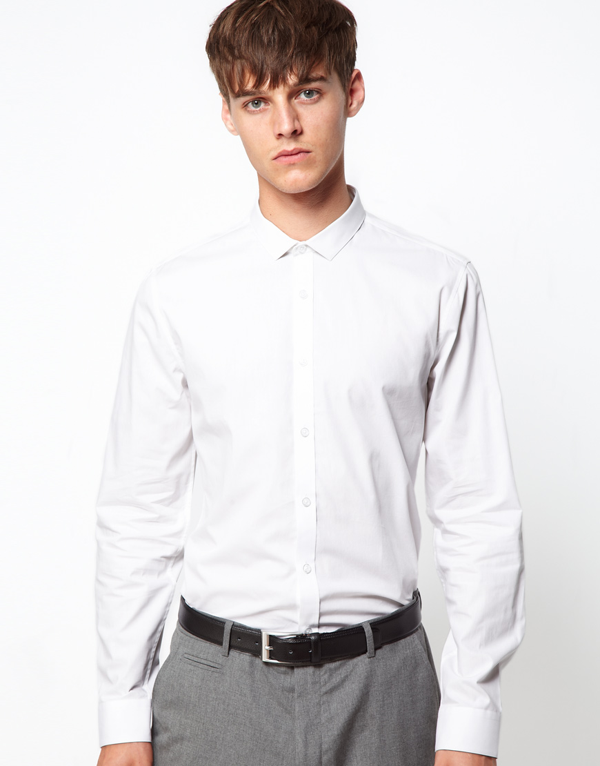 Lyst Asos Slim Fit Shirt With Cutaway Collar In White For Men