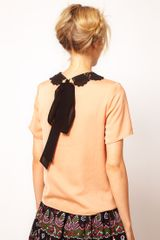 Asos Collection  TShirt with Contrast Crochet Collar in Orange (peach) - Lyst