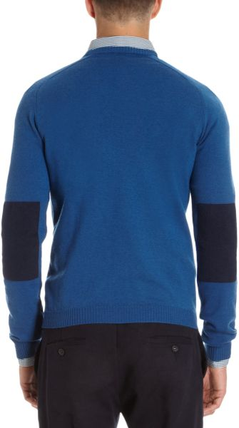 Basco crew neck sweater with contrast flannel elbow for Mens flannel shirt with elbow patches