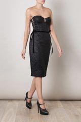 Bottega Veneta Bustier Woven Dress in Black - Lyst