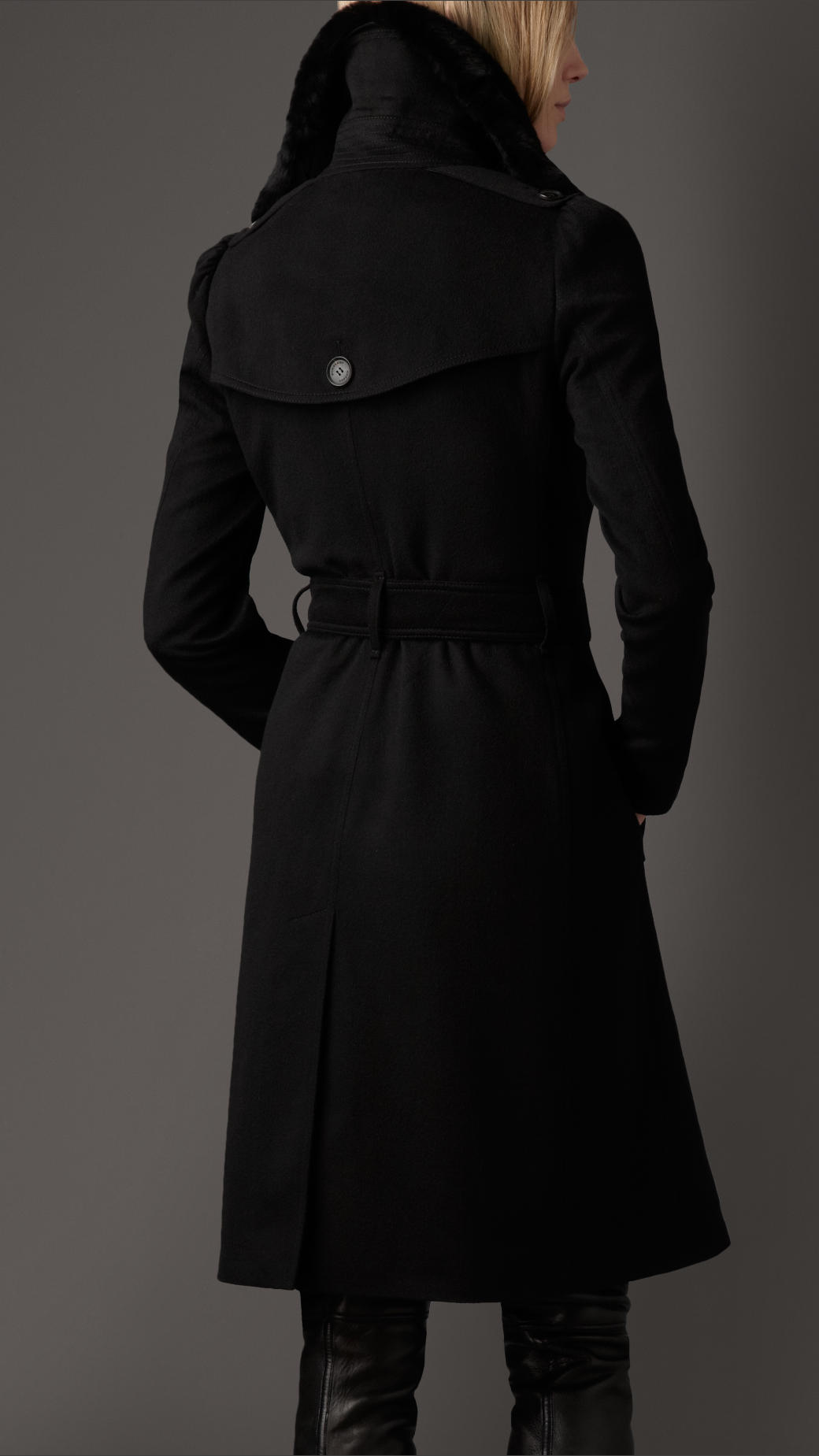 Lyst Burberry Long Fur Collar Cashmere Trench Coat In Black