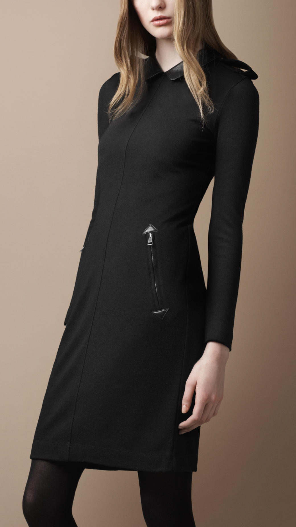 Burberry Brit Leather Collar Wool Dress In Black Lyst