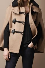 Burberry Brit Shearling Collar Duffle Cape - Lyst