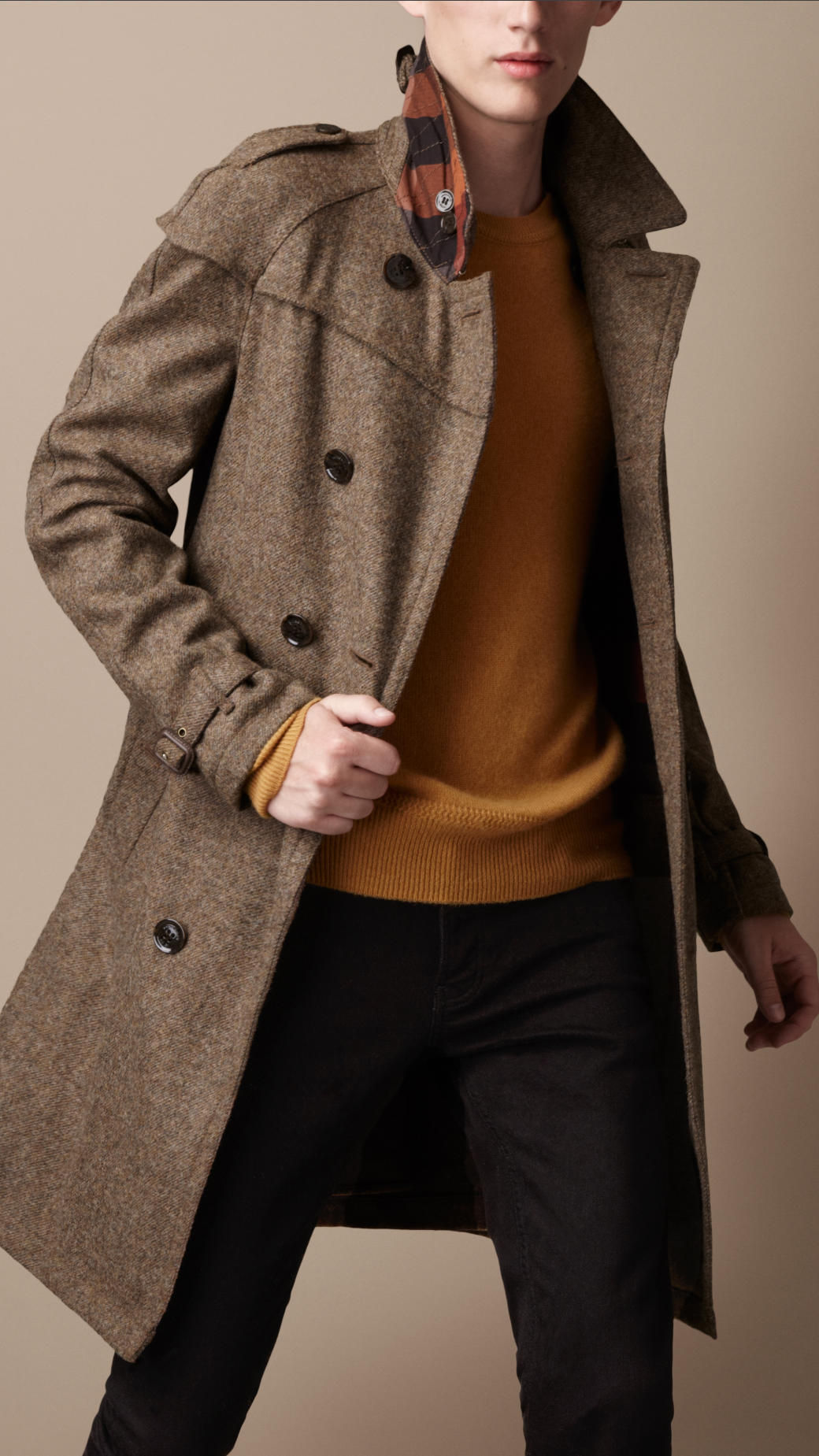 Burberry brit Midlength Wool Tweed Trench Coat in Brown for Men | Lyst