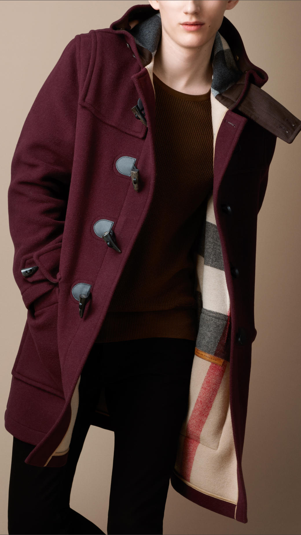 Burberry brit Doublefaced Wool Duffle Coat in Red for Men | Lyst