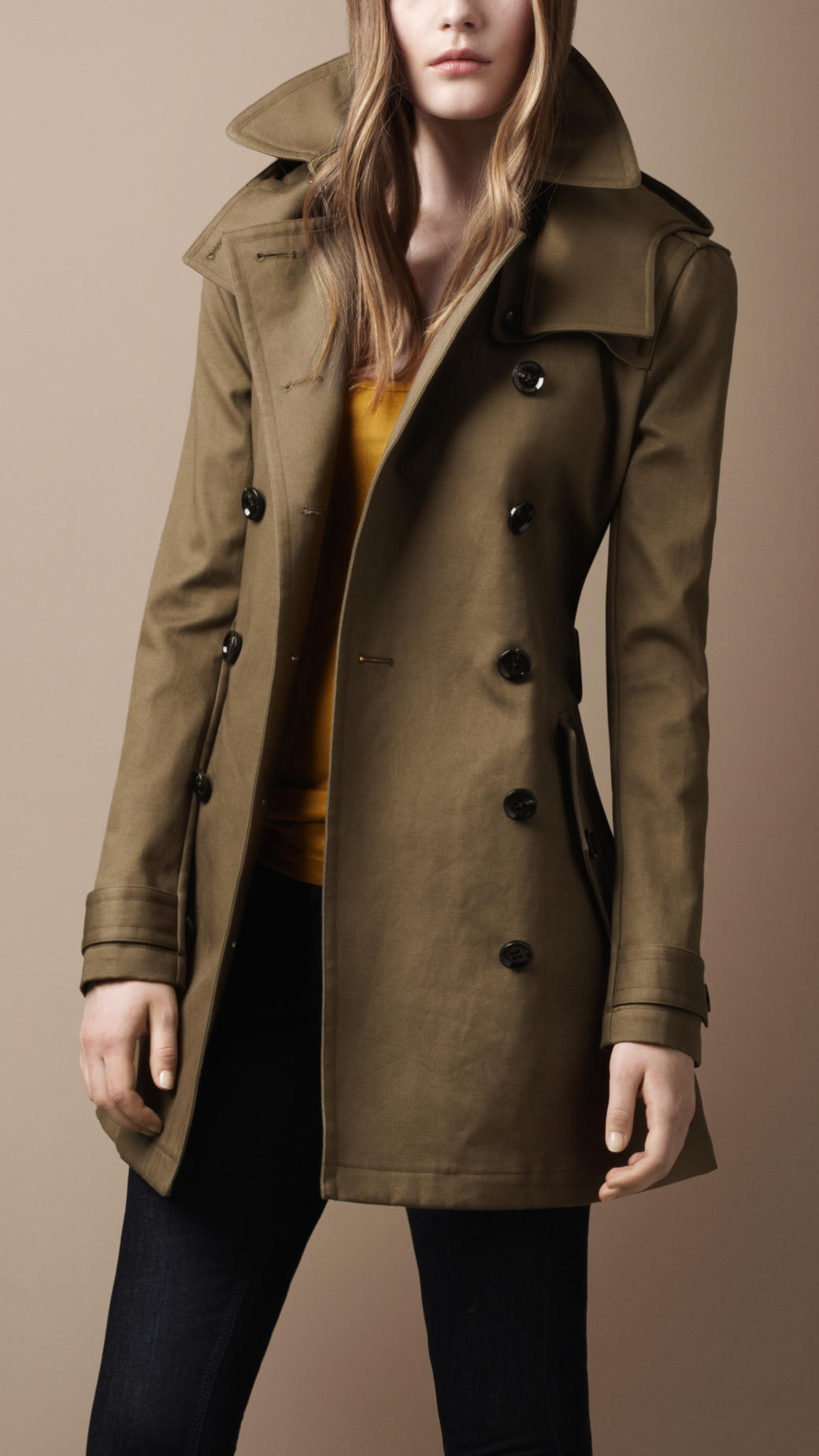 Burberry brit Midlength Wool Blend Hooded Trench Coat in Green | Lyst