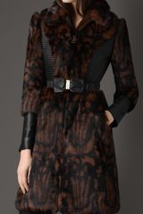 Burberry Printed Fur Coat - Lyst