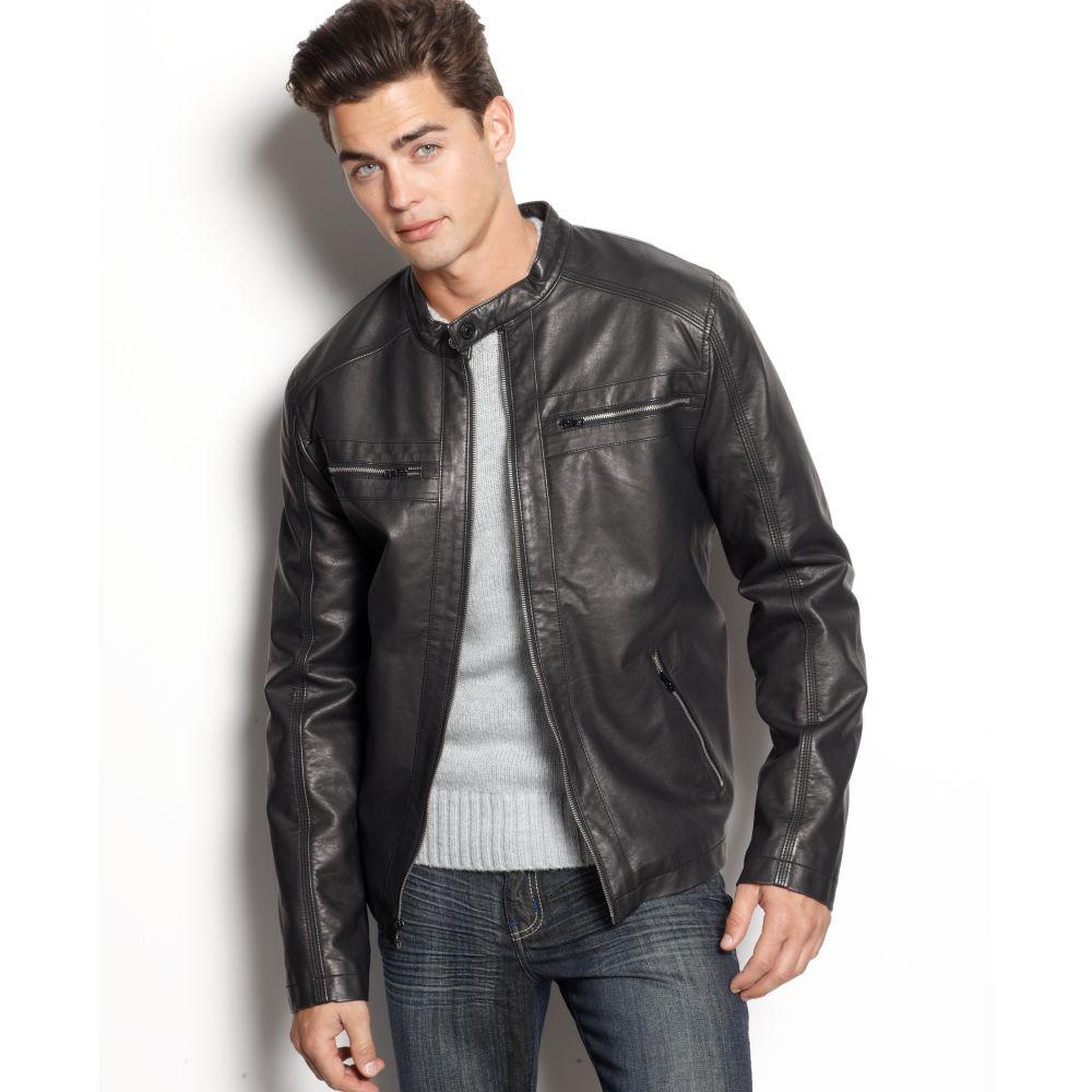 Lyst Calvin Klein Jeans Faux Leather Moto Jacket In