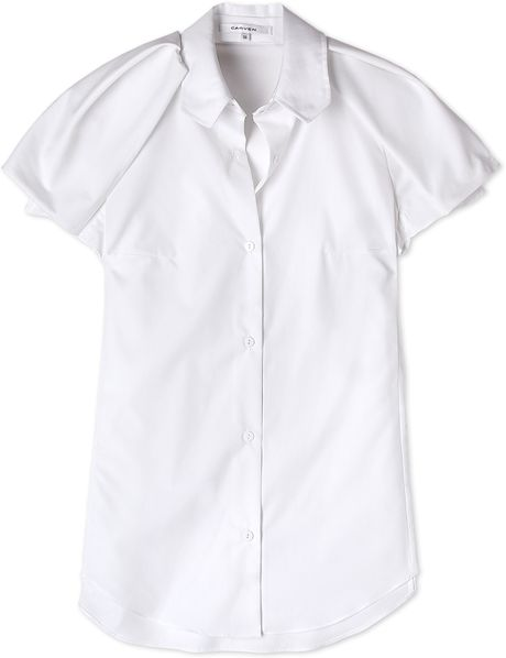 Carven sculpted shoulder crisp cotton shirt in white lyst for Crisp white cotton shirt
