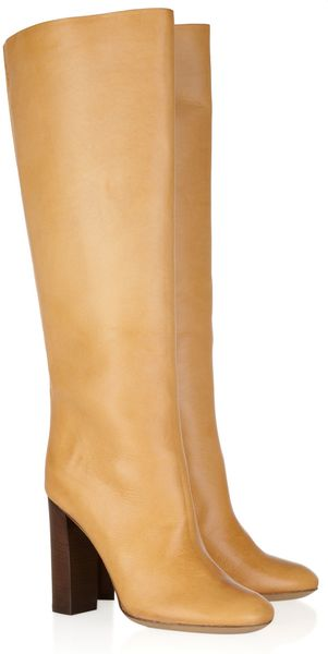 Chloé Textured Leather Knee Boots - Lyst
