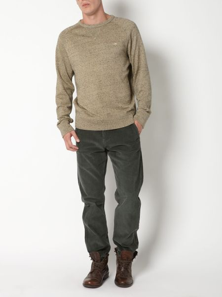 Cotton Crew Sweater Mens Dockers Olive 10