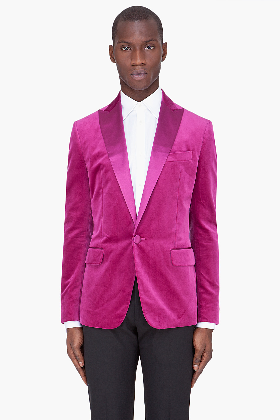 Dsquared² Fuchsia Silk Trim Velvet Blazer in Pink for Men | Lyst