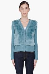 Elizabeth And James Teal Rabbit Hair Trim Cardigan - Lyst