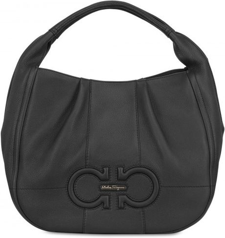 Ferragamo Large Milly Hammered Leather Bag in Black