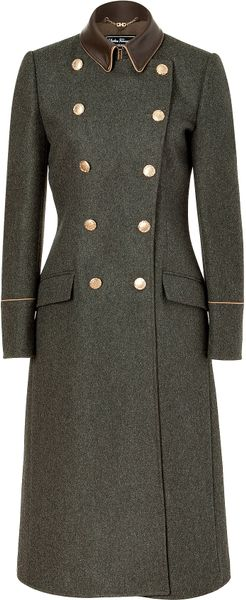 Ferragamo Charcoal Doublebreasted Wool Loden Coat with Leather Trim - Lyst