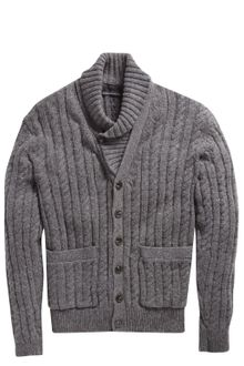 French Connection Lambswool Cableknit Cardigan - Lyst