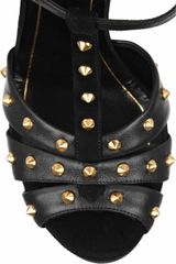 Gucci Studded Suede and Leather Sandals in Black - Lyst