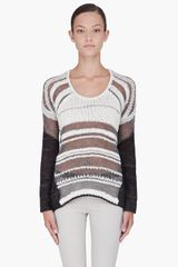 Helmut Lang Cream Mixed Blend Sweater - Lyst