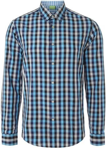 Hugo Boss Long Sleeved Gingham Shirt - Lyst