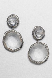 Ippolita Clear Quartz Diamond Drop Blackened Sterling Silver Earrings - Lyst