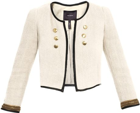 Isabel Marant Cropped Military Jacket in Beige (nude & neutrals)