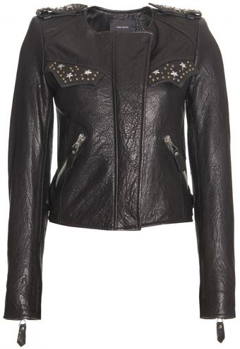 Isabel Marant Edris Textured Leather Jacket - Lyst