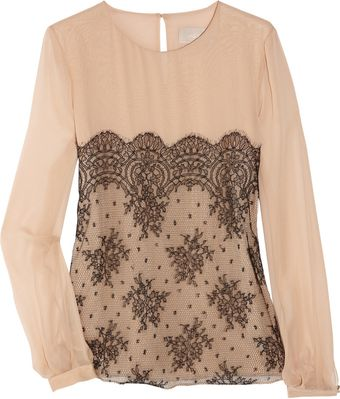 Jason Wu Silkchiffon and Lace Blouse - Lyst