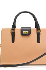 J.crew Edie Attaché Bag in Two Tone in Beige (caramel black) - Lyst