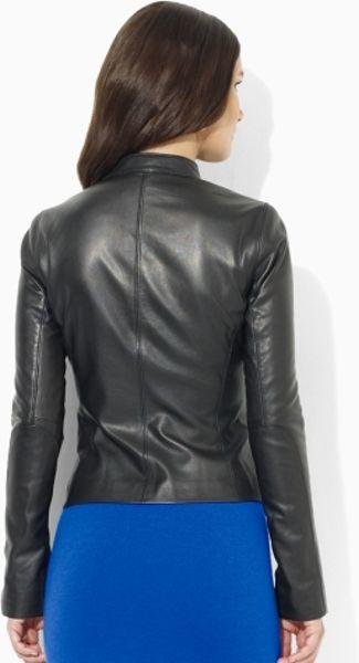 Lauren By Ralph Lauren Leather Moto Jacket In Black Lyst