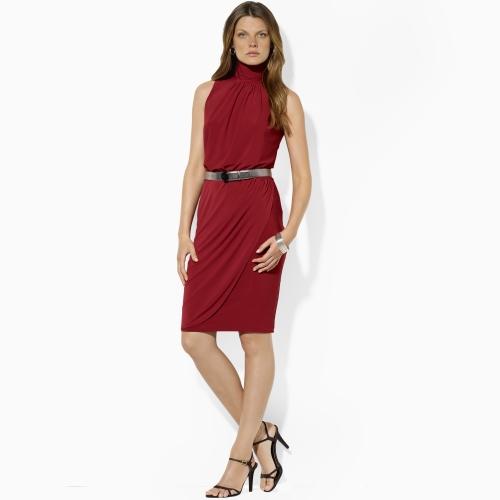 Lauren by ralph lauren Matte Jersey Cutaway Dress in Red | Lyst