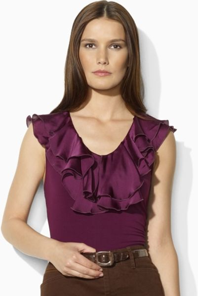 Lauren By Ralph Lauren Sleeveless Jersey Ruffled Top in Purple (chic aubergine)