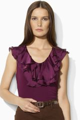 Lauren By Ralph Lauren Sleeveless Jersey Ruffled Top in Purple (chic aubergine) - Lyst