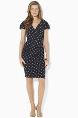 Lauren by Ralph Lauren Polka Dot Empire Jersey Dress - Lyst