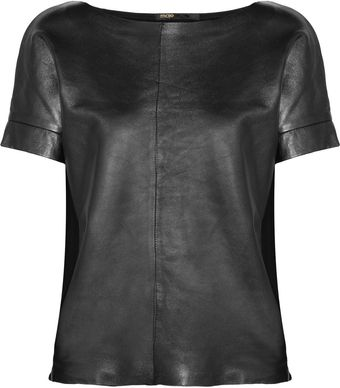 Maje Metallic Leather and Stretchcotton Top - Lyst