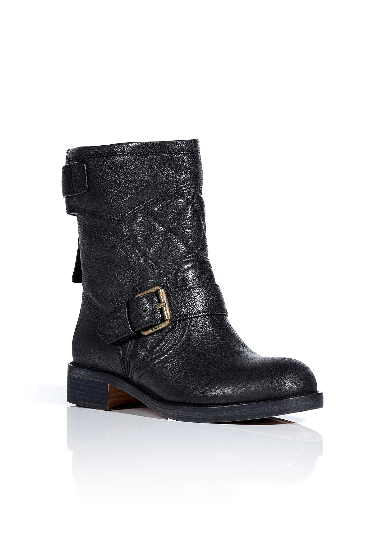 marc by marc black quilted leather biker boots in