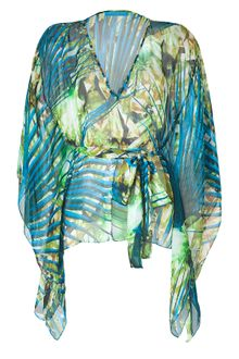 Matthew Williamson Escape Jade Printed Silk Kimono Top - Lyst