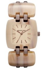Michael Kors Womens Chip Sand Acetate and Espresso Tone Stainless Steel Link Bracelet 34mm in Beige (sand) - Lyst